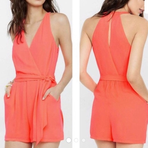 Express Pants - Women's Red Neon Coral Surplice Romper size 0 NWT
